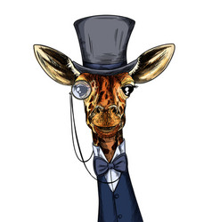 Elegant giraffe dressed in suit monocle and hat vector