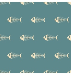 Fish Sceletons Semless Pattern on Beige vector image