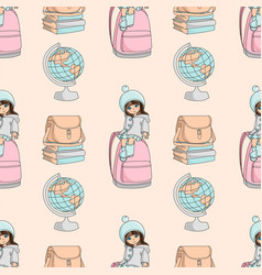 girl and globe school seamless pattern vector image
