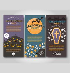 Halloween banners set flat halloween vector