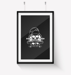 hand drawn sketch skull with cooks hat vector image