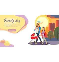 Happy family day cartoon web site template vector