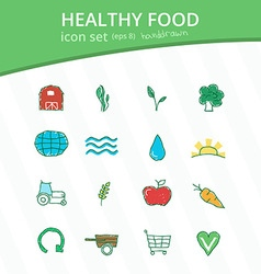 Healthy food hand drawn icon set vector