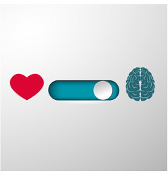 Heart and brain selection button vector