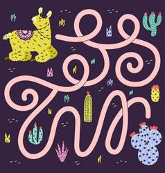 Help llama to find way to cactus funny maze vector