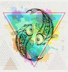 Hipster realistic koi fish on artistic background vector
