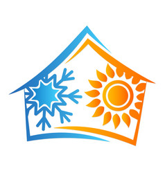 house sun and snowflake symbol vector image