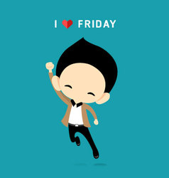 I Love Friday concept with happy businessman vector image