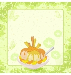 Ice Cream Citrus Waffles and Floral Background vector