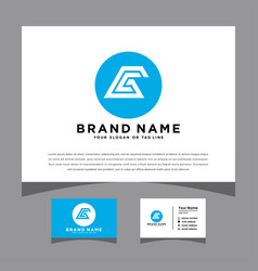 Initials gc logo with a business card vector