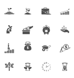 Investment Silhouette Icon Set vector image