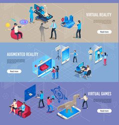 isometric people in vr portable virtual reality vector image