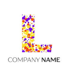 letter l logo with purple yellow red particles vector image vector image