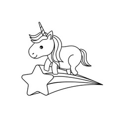 Line nice unicorn with horn and shooting star vector