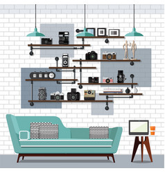 Living room and sofa vector