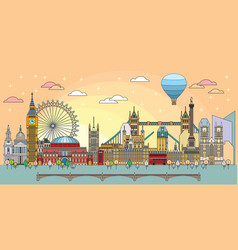london colorful line art 5 vector image
