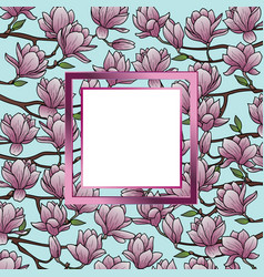 magnolia frame composition vector image
