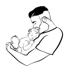 Man with a child logo young father with vector