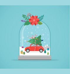 Merry christmas winter wonderland scenes vector