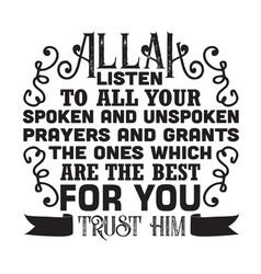 Muslim quote and saying good for cricut allah vector