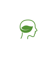 natural green head and bio healthy brain logo vector image
