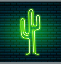 neon signs and icons green cactus and tropical vector image