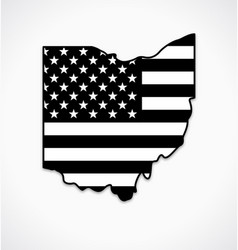 ohio oh state shape with usa flag black and white vector image