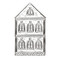 Old house hand drawn sketch vector