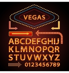 Orange neon lamp letters font show vegas vector