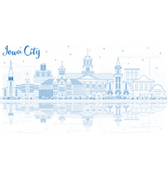 Outline iowa city skyline with blue buildings and vector