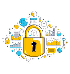 padlock lock surrounded by different icons set vector image