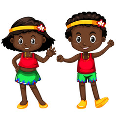 papua new guinea boy and girl on white background vector image