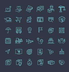 parcel delivery service icon set vector image