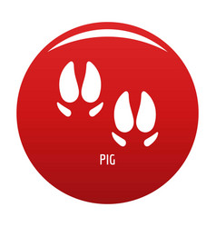 Pig step icon red vector