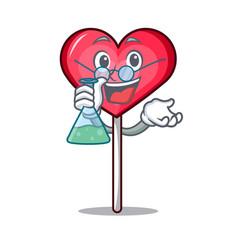 Professor heart lollipop character cartoon vector