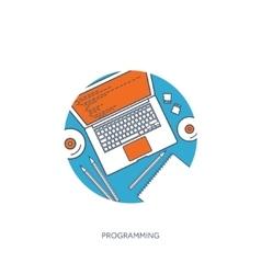 Programmingcoding Flat lined outline computing vector image