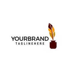 quill pen logo design concept template vector image