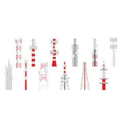 radio masts telecom transmitter towers vector image