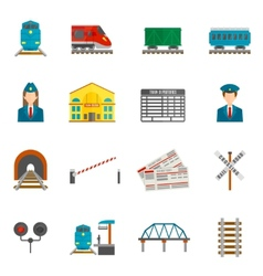 Railway Icons Set vector image