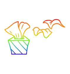Rainbow gradient line drawing cartoon box of vector