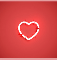 realistic neon heart with tubes on vector image