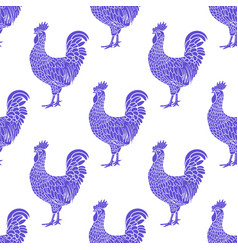 rooster pattern hen or chicken hand drawn vector image