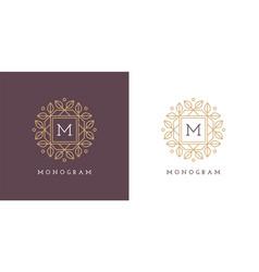 round floral logo design template vector image