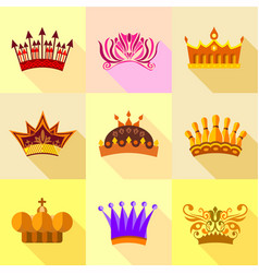 royal crown icons set flat style vector image vector image