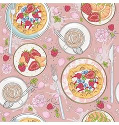 seamless breakfast wafle pattern vector image