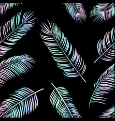 seamless holofraphic pattern with palm leaves on vector image
