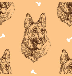 seamless pattern hand drawing german shepherd vector image