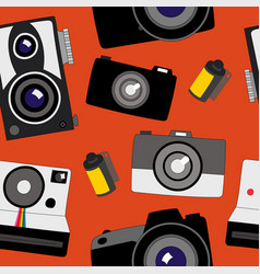 seamless pattern of various cameras from old to vector image