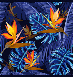 Seamless pattern with blue tropical flowers vector