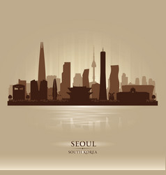 seoul south korea city skyline silhouette vector image